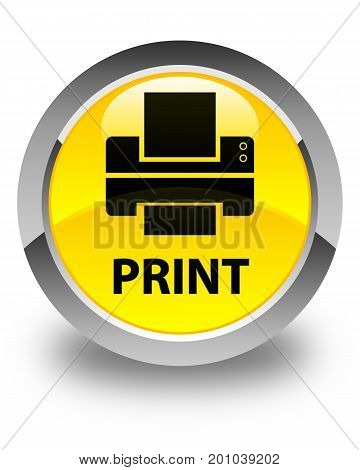 Print (printer Icon) Glossy Yellow Round Button