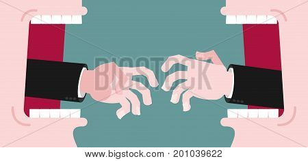 Business Dispute. Business Hands Reach For Handshake. Reach Out.  Open Mouth And Teeth. They Were Lo