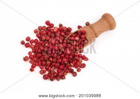 red peppercorns isolated on white background pink peppercorns in a wooden scoop