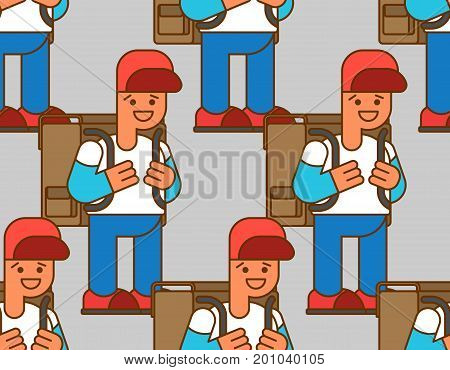 Back To School Seamless Pattern. Boy And Backpacks. Background For September 1. Schoolboy Goes To Sc