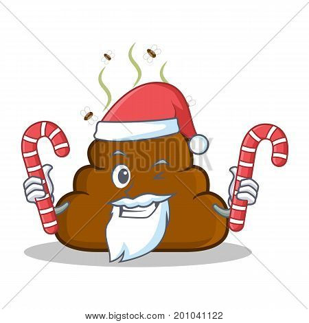Santa with candy Poop emoticon character cartoon vector illustration
