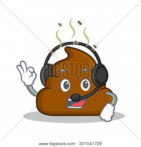With headphone Poop emoticon character cartoon vector illustration