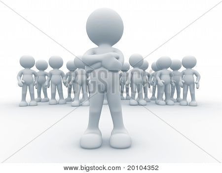 3d person icon leadership and team - This is a 3d render illustration poster