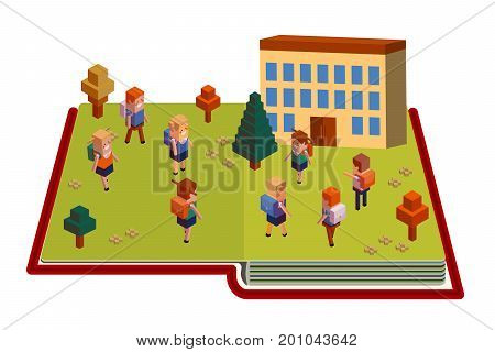 Back to school Abstract composition located on the book Isometric figures of schoolchildren in uniform. Boys, girls with school backpacks go to school building. Vector illustration isolated on white