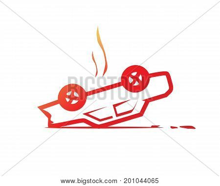 overturned car symbol accident symbol illustration design isolated on white background.