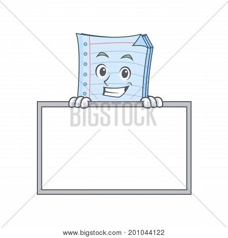 Grinning with board notebook character cartoon style vector illustration