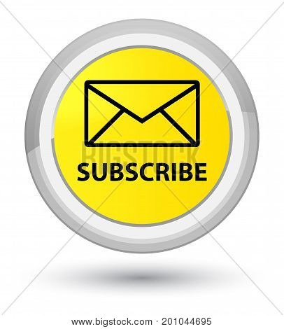 Subscribe (email Icon) Prime Yellow Round Button