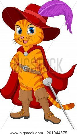 Vector illustration of Cartoon puss in boot