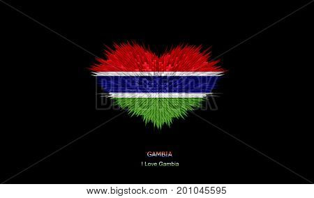 The Heart of Gambia Flag abstract background.