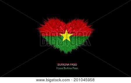 The Heart of Burkina Faso Flag abstract background.