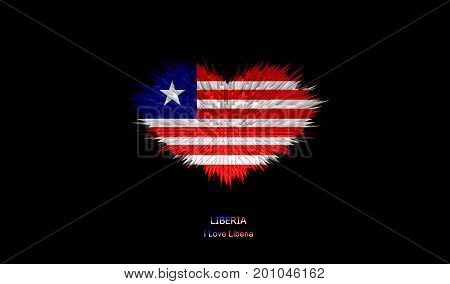 The Heart of Liberia Flag abstract background.