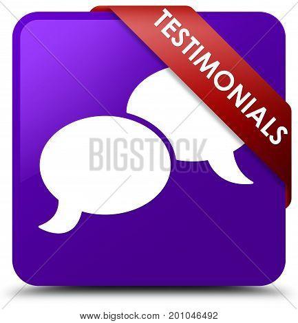 Testimonials (chat Icon) Purple Square Button Red Ribbon In Corner