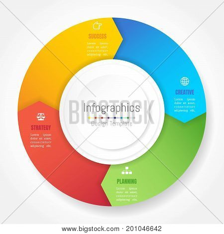 Infographic design elements for your business data with 4 options parts steps timelines or processes Arrow wheel circle style. Vector Illustration.