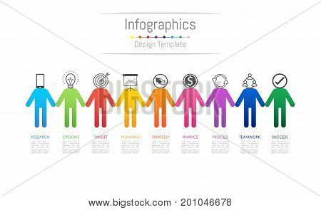 Infographic design elements for your business data with 9 options parts steps timelines or processes connecting people concept. Vector Illustration.