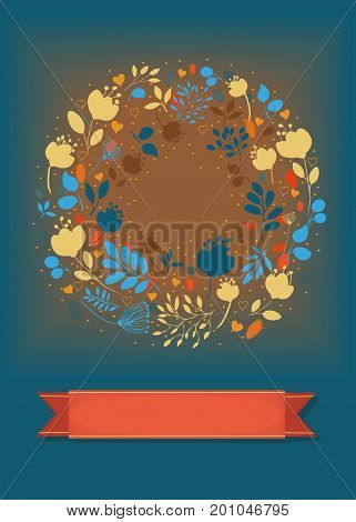 Graceful Floral Greeting Card. Ring of colorful flowers plants and hearts. Red banner for custom text. Blue and brown background with watercolor blurs