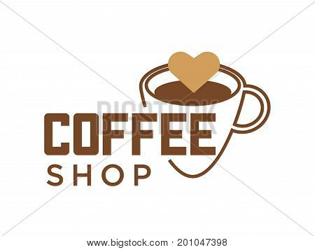 Coffeeshop logo template of coffee cup with cappuccino heart. Vector isolated icon for cafe or coffeehouse sign design of americano or hot espresso coffee mug