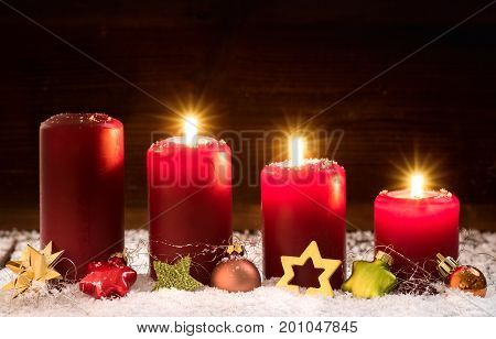 Candles for the third advent christmas .