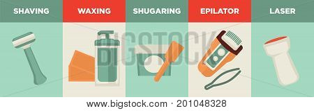 Equipment for hair removal in several ways vector illustrations set. Shaving with razor, waxing with paper stripes, fast and convenient sugaring, electrical epilator, metal tweezer and laser tool.