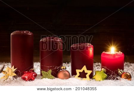 Candles for the first advent christmas .