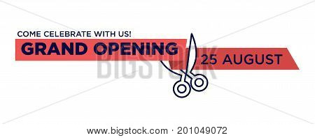 Grand opening red ribbon cutting with scissors. Banner cut design for shop open or festival celebration announcement or invitation card with space template for date. Vector isolated icon