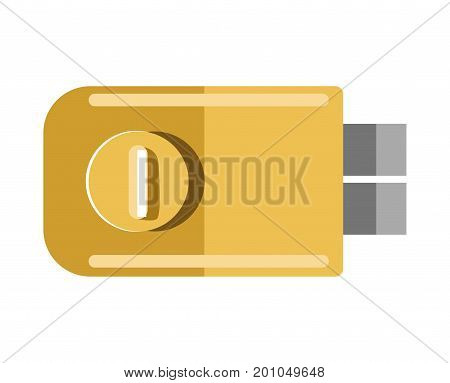 Metal door lock with round handle in yellow corpus isolated cartoon flat vector illustration on white background. Simple tool that attaches to door to keep premises from undesirable entrance.