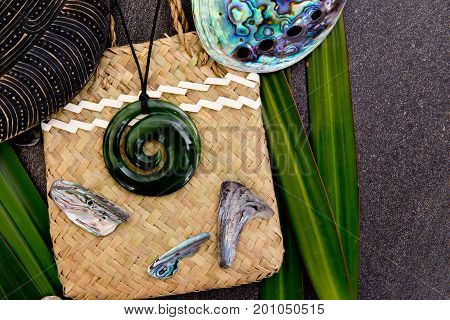 New Zealand - Maori Themed Objects - Greenstone Jade Pendant On Woven Kite Flax Bag With Shell Piece