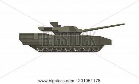 Heavy military tank of dark color isolated cartoon flat vector illustration on white background. Armored solid transport for war conduction on caterpillar tracks with cannon armament in turret.