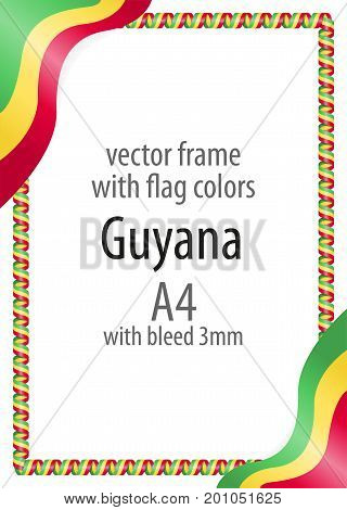 Frame And Border Of Ribbon With The Colors Of The Guyana Flag