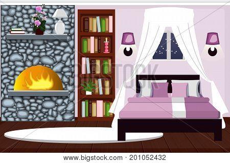 Bedroom interior with fireplace. Comfortable room winter night. cartoon. Vector.