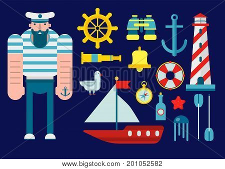 Mariner in captain hat and with anchor tattoo on hand. Steering wheel, optical equipment, small sailboat, tall beacon, sea animals, gold compass, striped lifebuoy and deck bell vector illustrations.