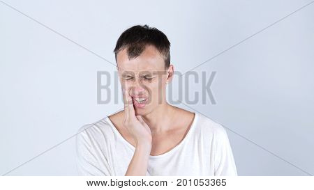 Toothache. Man in Tooth Pain, Isolated on White background