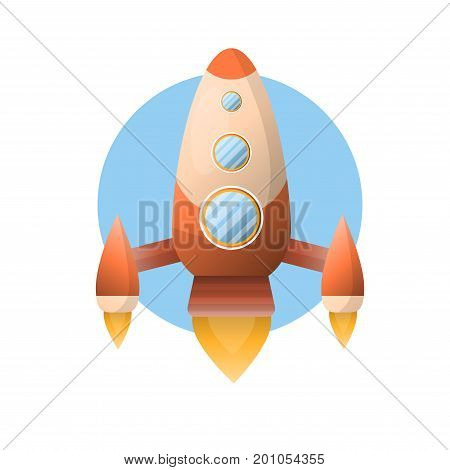 Big shiny space rocket with round portholes that flies up with help of powerful turbines that produce fire isolated vector illustration on white background. Spaceship with polished orange corpus.