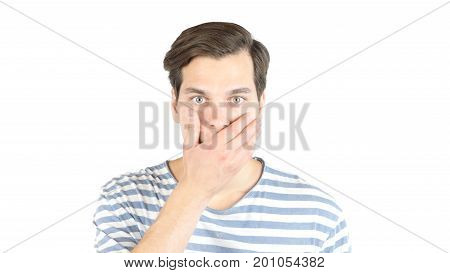 Portrait Of Amazed Shocked Man In Studio , White Isolated Background