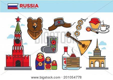 Russia travel destination vector illustration. Kremlin tower, brown bear, traditional clothing elements, tea with honey, tasty pancakes, wooden balalaika, bottle of vodka and bundle of bagels.