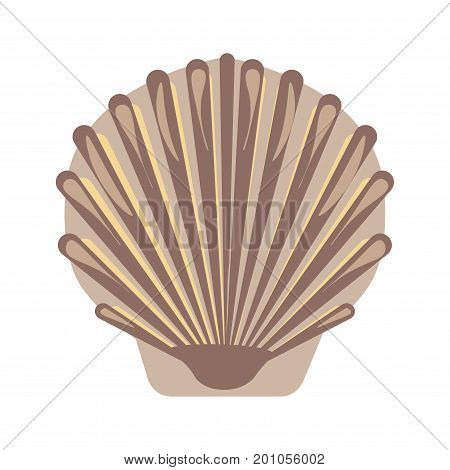 Big closed sea shell with pearl inside and uneven surface isolated cartoon vector illustration on white background. Beautiful protective formation that covers body of mollusks and protects it.