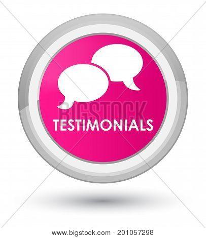 Testimonials (chat Icon) Prime Pink Round Button