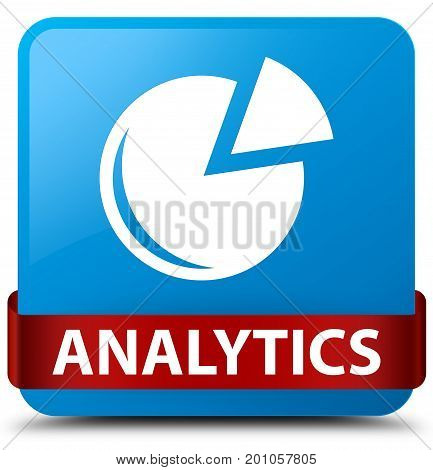 Analytics (graph Icon) Cyan Blue Square Button Red Ribbon In Middle