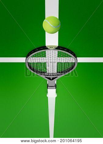 Tennis racket near a yellow ball on a green court. Tennis backgrounds. 3D illustration