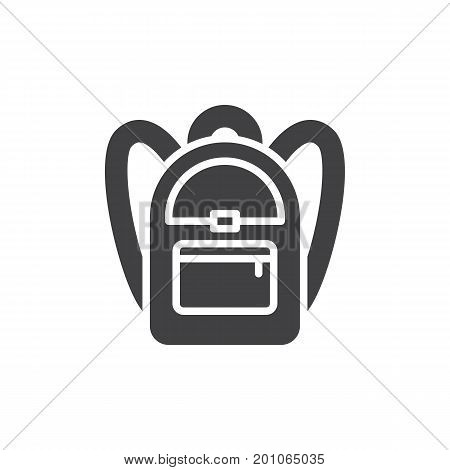 School backpack icon vector, filled flat sign, solid pictogram isolated on white. Symbol, logo illustration. Pixel perfect vector graphics