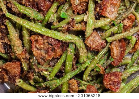 Close-up Of Healthy Sauteed Green Beans With Bacon, Onion, And Bread Crumbs
