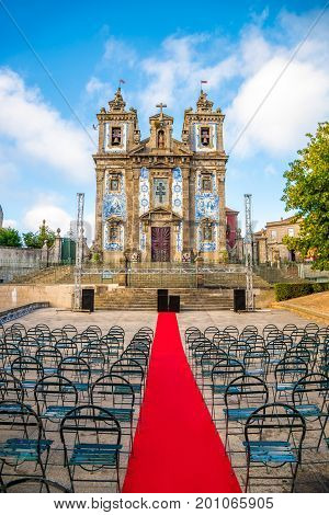 Church of Saint Ildefonso Porto situated near Batalha Square. Completed in 1739 the church was built in a proto-Baroque style and features a retable by the Italian artist Nicolau Nasoni and a façade of azulejo tilework