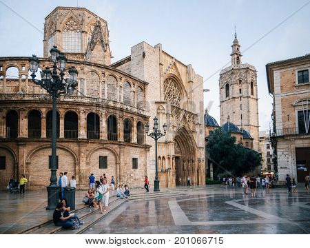 Valencia Spain - June 2 2016: Square of Saint Mary with local and tourists in Valencia Old Town in the evening Spain