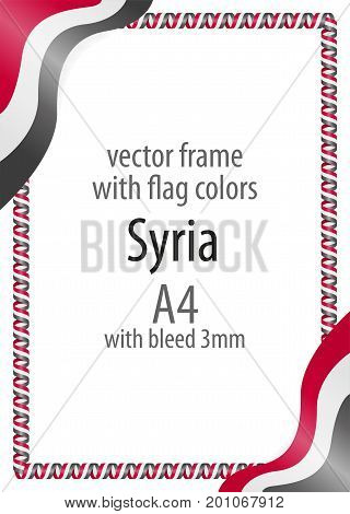 Frame And Border Of Ribbon With The Colors Of The Syria Flag