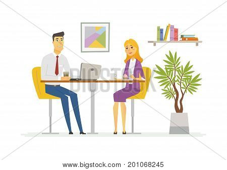 Coffee Break - vector illustration of a business situation. Cartoon people characters of young female, male colleagues, partners having rest, talking at the laptop. Scene with two office workers