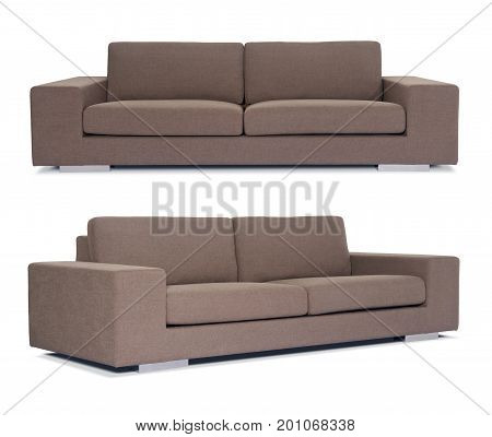 Brown Sofa On White Background