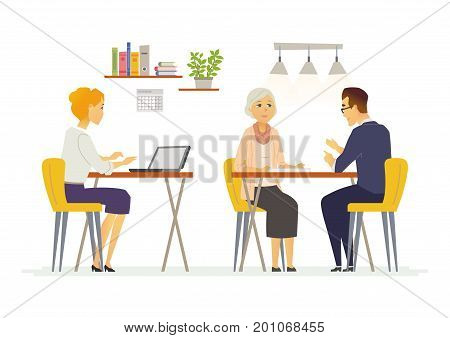 Coffee Room - vector illustration of business situation. Cartoon people characters of female, male colleagues, partners discussing work. Senior, young office workers team in casual atmosphere