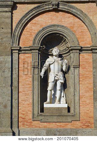 Statue Of Carlo V In Palazzo Reale Di Napoli. Campania, Italy.