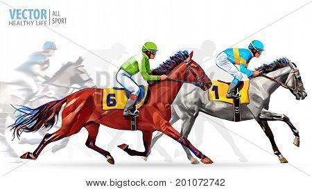 Five racing horses competing with each other, with motion blur to accent speed. Vector. Illustration.