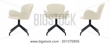Light Beige Leather Swivel Chair