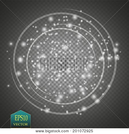 Vector light ring. Round shiny frame with lights dust trail particles isolated on transparent background. Magic concept